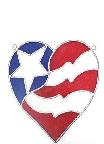 (Stain Glass Mini Flag Heart Suncatcher)