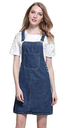 AvaCostume Women's Adjustable Shoulder Strap Denim Bib Overall Dress Blue 8