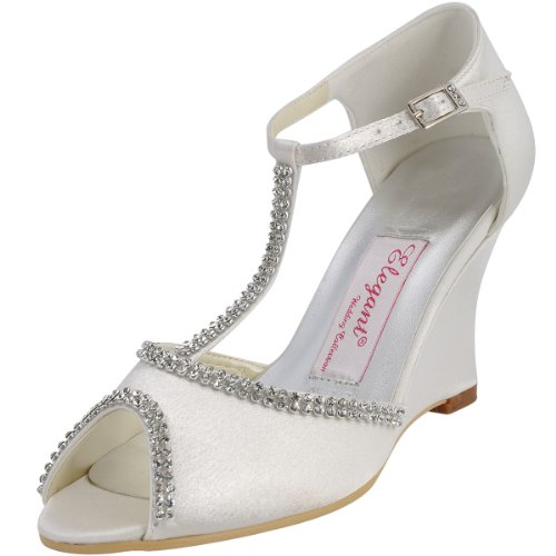 ElegantPark EP11086 Women's Wedges Peep Toe T-Strap High Heel Rhinestones Chains Satin Wedding Bridal Pumps Shoes Ivory US 10 - Ivory T-strap Sandal