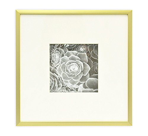 Frametory, 8x8 inch Instagram Square Aluminum Gold Metal Picture Frame Collection, Photo Frame with Ivory Color Mat for 4x4 Picture & Real - Square Frame Gold