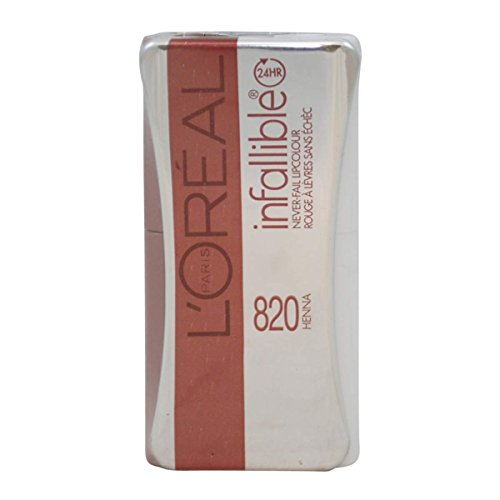 2 PACK- L'OREAL INFALLIBLE NEVER FAIL LIPCOLOUR 24HR #820 HENNA (Loreal Infallible Lip Color)