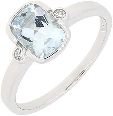 Vintage Style Sterling Silver Cushion Cut Genuine Aquamarine Ring (1.2 CT.T.W)