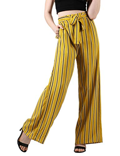 (Ma Croix Womens Linen Pants Drawstring Casual Lantern Palazzo Trousers with Pockets (Large, 3ba02_Mustard Yellow))