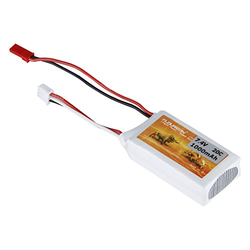 FLOUREON 7.4V 1000mAh 20C 2S Lipo RC Battery with JST Plug for RC Car, Truck, Truggy, RC Racing Drone, Quadcopter, Helicopter, Airplane, DIY RC Hobby