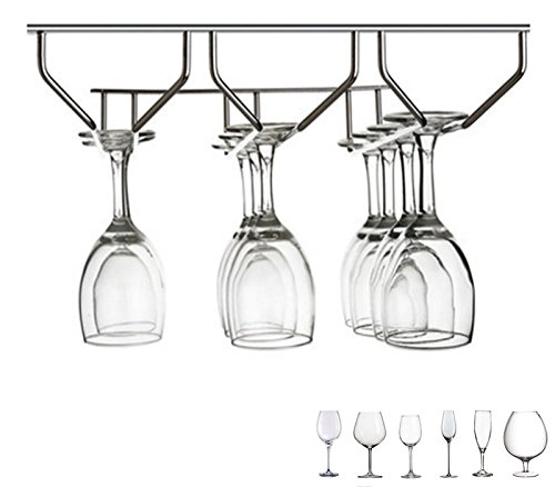 Edofiy 304 Stainless Steel Stemware Wine Glass Rack Under Cabinet Storage 9 - 12 Glasses
