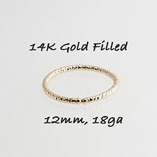 Gold Nose Hoop Ring, 12mm Gold Nose Hoop, Tribal Nose Ring, Nose Jewelry, Nose Piersing, Tiny Nose Ring, Hoop Earrings, GF-DC-O-D12MM-18GA ()