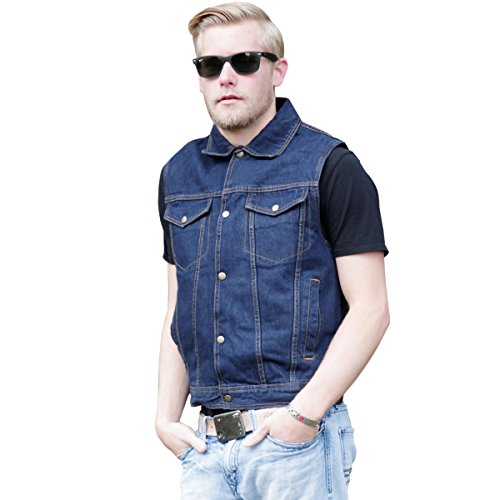 Rider Denim Jacket - Mens Blue Denim Jean Vest | Short Sleeveless Gilet Jacket with Concealed Carry Gun Holsters 2XL