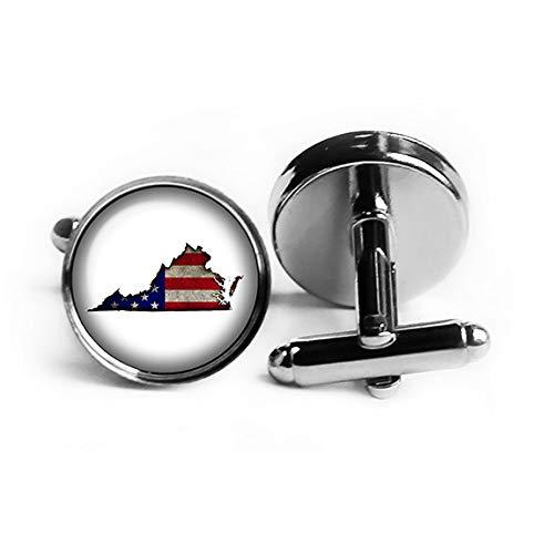 United States USA Flag Silhouette Virginia VA Rhodium Plated Silver Cufflinks