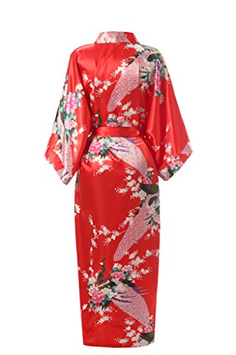 Donne Con Vestaglia J Delle Kimono Loto robe Rosse Lungo Di Seta Tasche Del Stampato Kimono nqBIB7UwZ