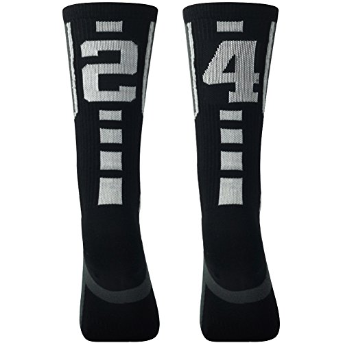 Grey and Black Football Socks for Boy,Comifun Youth Teens Sports Soccer Athlete Player ID Number Socks,1 Pair,