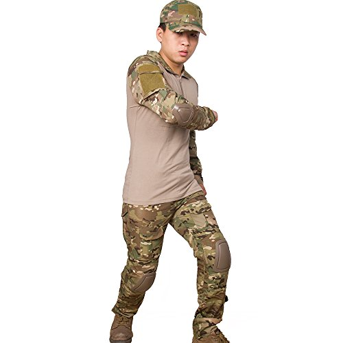 Army G3 Combat Uniform Shirt & Pants with Knee Pads Military Airsoft Hunting Apprael Gen.3 MultiCam Camo BDU (S)