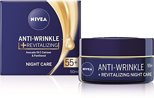 Nivea Anti-wrinkle + revitalizing night care face cream anti-aging 55+ with avocado oil, calcium and panthenol 50ml / 1.69 oz ()