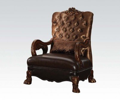 Acme Furniture 52097 Dresden Chair w/1 Pillow, Golden Brown Velvet & Cherry Oak by Acme Furniture