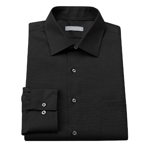Van Heusen Fitted Easy-Care Spread-Collar Dress Shirt Solid Black (18