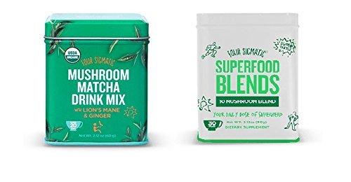 (Four Sigmatic COMBO Pack- (1) 10 Mushroom Blend 60g Tin & (1) Organic Mushroom Matcha 60g Tin with Lion's Mane and)