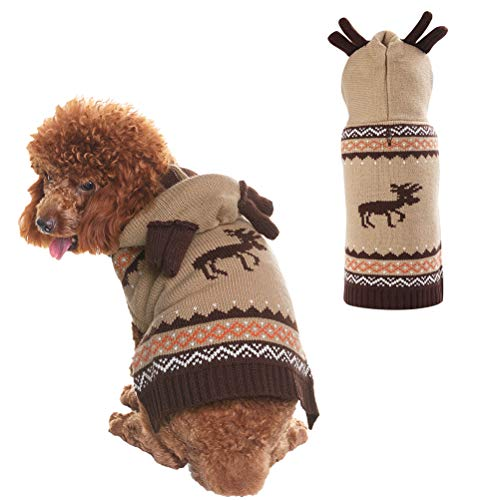 PUPTECK Christmas Dog Hooded Sweater - Reindeer Pattern - Xmas Knitwear Hoodie Winter Clothes Warm Coat - Small