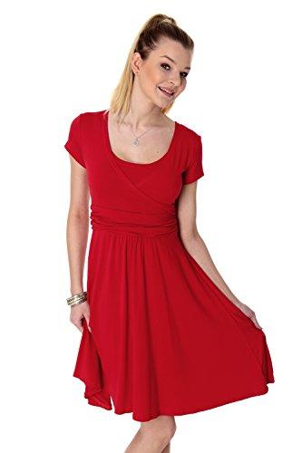 GofutureWithLove - Vestido - Trapecio - Manga Corta - para Mujer Rojo