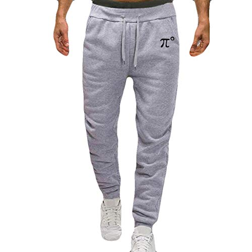 Willsa Mens Swimsuit, Splicing Printed Overalls Casual Pocket Sport Work Casual Trouser Pants Gray