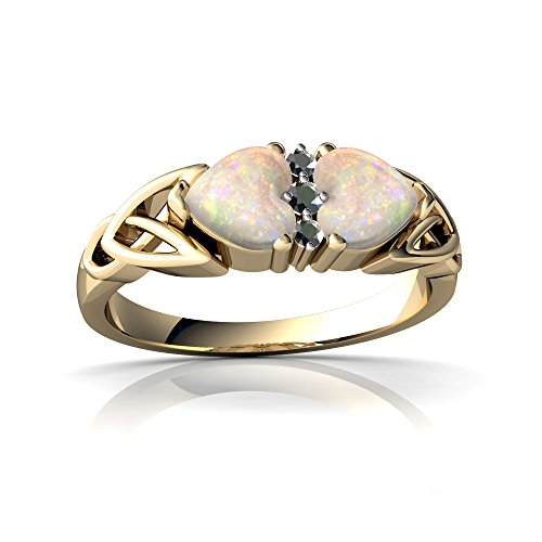 (14kt Yellow Gold Opal and Diamond 5mm Heart Celtic Trinity Knot Ring - Size 9)