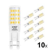 LVWIT G9 LED Light Bulbs 5W 4000K Neutral White LED Bulb 50W Halogen Equivalent 120V G9 LED Bulbs 400 Lumens Non-dimmable 10 Pack for Home Lighting