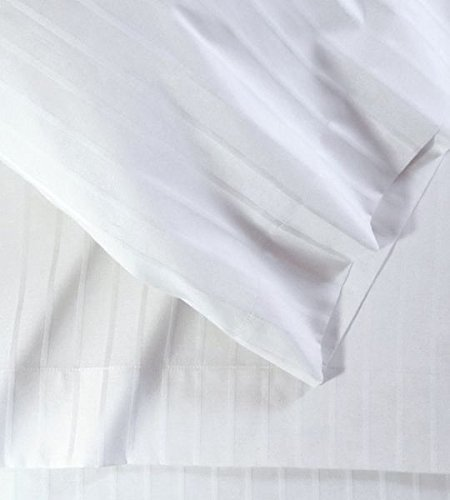 4PC Sheet Set 100% Cotton 400 Thread Count Solid 15 Inch Deep Pocket(King, White Stripe (Damask Stripe 400 Thread)