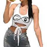 Women Cami Tops, Sexy Sleeveless Halter O Neck Backless Hollow Bow Bandage Printed Crop Vest Top (XXL, Black)