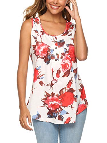 Famulily Flower Tank Tops for Women Hot Summer Casual Floral Printed Fit Hem Tunic Beach Camis for Holiday Vacation Church Street Going Out Home Wear Red XXL