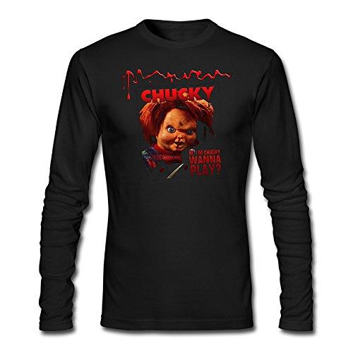 ZILONG Mens Chucky Doll Long Sleeve Cotton T-Shirt Black M (Chucky Doll For Sale Cheap)