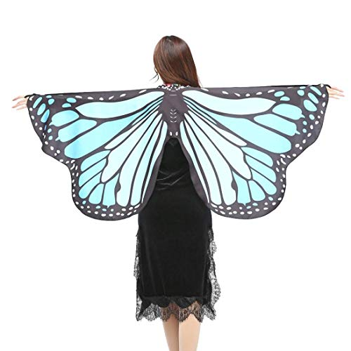 FEITONG Halloween Party Women Chiffon Soft Fabric Butterfly Wings Shawl Fairy Ladies Nymph Pixie Costume Accessory, 147x70cm(147x70cm,Sky Blue) -