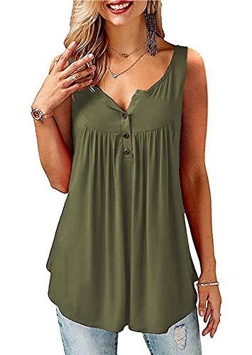 Amoretu T-Shirt Damen V-Ausschnitt Knopfleiste Bluse Solide Tunika Langam/Kurzarm Tops