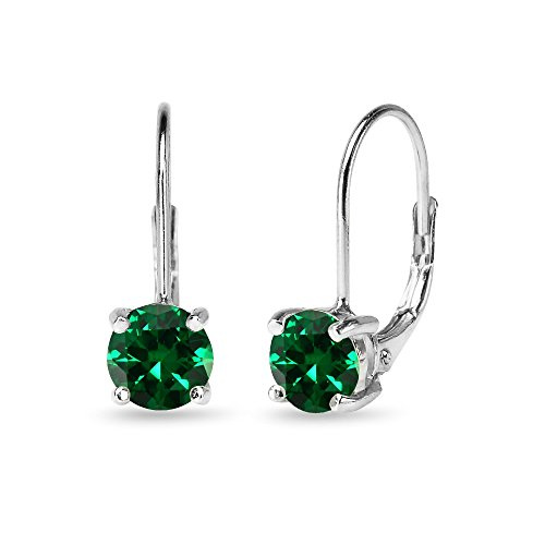 Sterling Silver 6mm Round-Cut Created Emerald Leverback Earrings