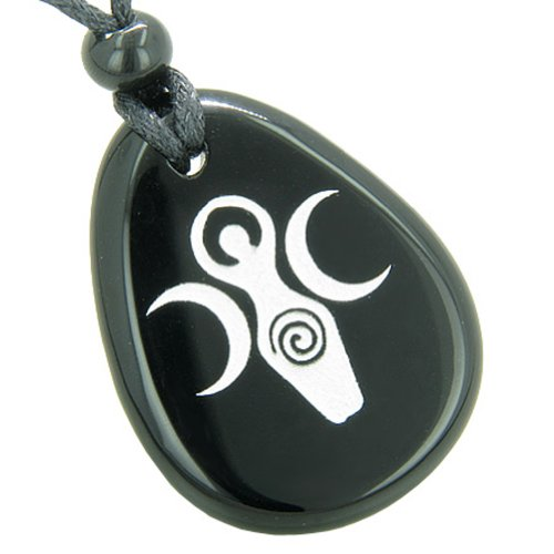 BestAmulets Triple Goddess Celtic Lady Blessing Spiritual Amulet Black Agate Pendant Necklace