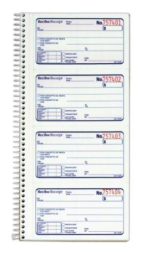 Adams Recibo Renta o Dinero, Spanish Language Rent or Money Receipt Book, 2-Part, Carbonless, 200 Sets/Book, 4 Receipts/Page (SC1152S)