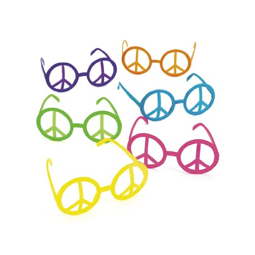 Fun Express Plastic Peace Sign Glasses 12 per -