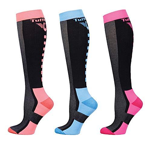 TuffRider Ventilated Neon Knee Hi Socks - 3 Pack | Color -Neon Peach/Neon Blue/Neon Pink
