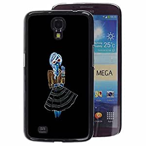 A-type Arte & diseño plástico duro Fundas Cover Cubre Hard Case Cover para Samsung Galaxy Mega 6.3 (Neon Girl Black Blue Brown Hipster Dress)