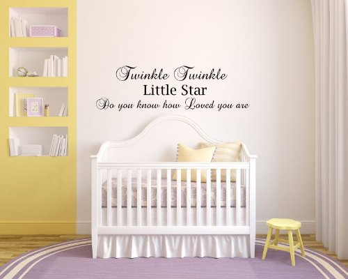 Twinkle Twinkle Little Star Do You Know How Loved You Are Baby Children Love Nightime Bedtime Sleep Vinyl Wall Decals Quotes Sayings Words Art Decor Lettering Vinyl Wall Art Inspirational Uplifting
