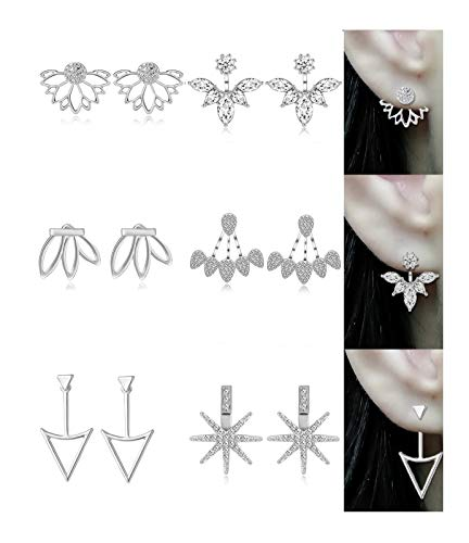 Tornito 12 Pairs Lotus Flower Earring Studs Chic CZ Earrings Jackets For Women Girls Silver Rose Gold Tone (C:6 Pairs, Silver Tone) ()