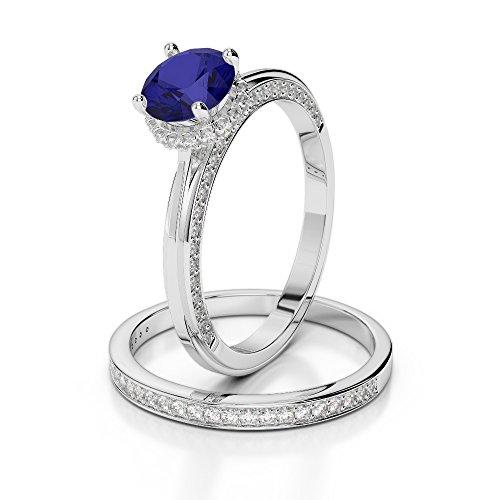 Or blanc 18carats 1CT G-H/VS sertie de diamants ronds Cut Saphir et mariée Bague de fiançailles et ensemble de Agdr-2033
