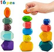 16 Pcs Wooden Stone Balancing Blocks- Colorful Wood Stone Building Blocks Natural Rainbow Balancing Stacking G