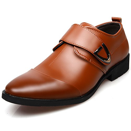 Blivener Men's Formal Leather Wedding Dress Shoes Buckle Velcro Straps Moccasin Monk Shoes Brown 40VnX