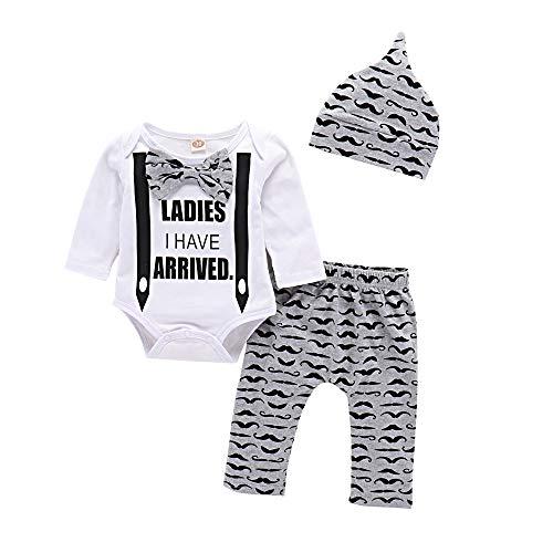 Little Bitty Baby Boy Clothes Infant Long Sleeve Bodysuit + Pants+ Hat Outfits Set 3Pcs