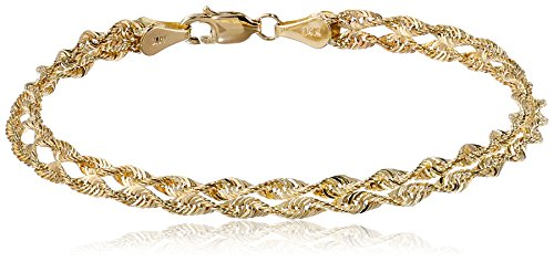 14k Yellow Gold Double Twist Rope Bracelet, 7.5″