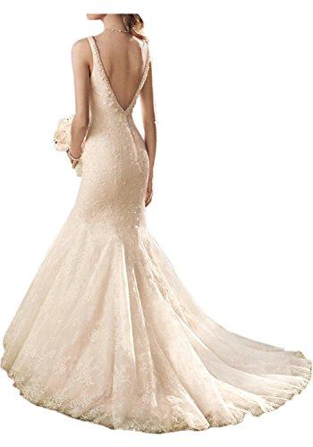 Charmant Damen Hochwertig Spitze V-ausschnitt Meerjungfrau Hochzeitskleider Brautkleider Brautmode Lang