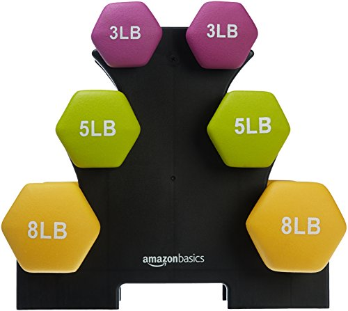 AmazonBasics 32 Pounds Neoprene Workout Dumbbell Weights with Weight Rack