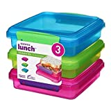 Sistema Lunch Collection Sandwich Box Food Storage Container, 15.2 Ounce/1.9 Cup, Assorted Colors, Set of 3