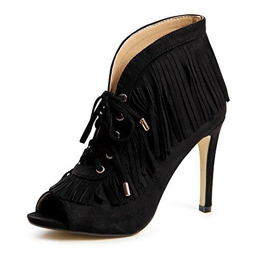 Femme Noir nbsp;pumps De Lacets 694 Topschuhe24 Sandales w4Zx1UqA