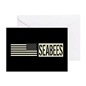 CafePress - U.S. Navy: Seabees (Black Flag) - Greeting Card, Note Card, Birthday Card, Blank Inside Glossy by CafePress