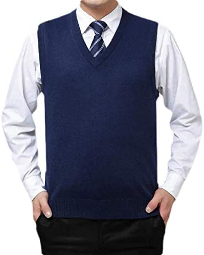 Jvfgbsdgfs Men Casual Slim Fit Lightweight Sleeveless V-Neck Sweater Vest