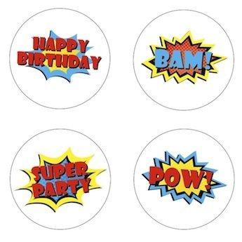 Little Superhero Sayings Edible Cupcake Toppers Decoration ()